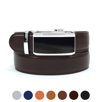 Men's Genuine Leather Sliding Buckle Ratchet Belt MGLBB22