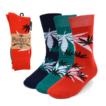 Assorted Pack (3 Pairs) Men's  Cannabis Pattern Crew Socks 3PKS-MC/MH4