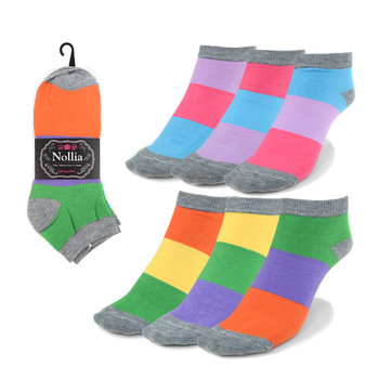 Assorted Pack (6 pairs) Women's Multicolor Low Cut Socks LN6S-626