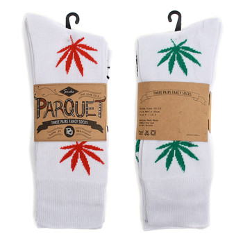 Assorted Pack (3 Pairs) Men's  Cannabis Pattern Crew Socks 3PKS-MC/MH5