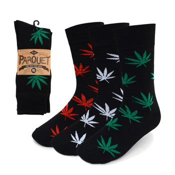 Assorted Pack (3 Pairs) Men's  Cannabis Pattern Crew Socks 3PKS-MC/MH6