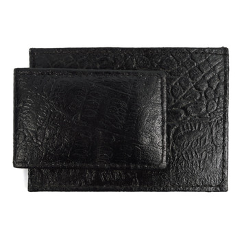 Leather Money Clip with Front Pocket in Croco pattern MC-2092-CR