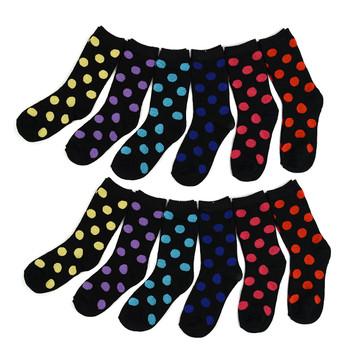 4-Packs (12 Pairs) Women's Dotted Crew Socks 3PKSWCS-610