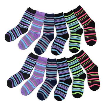4-Packs (12 Pairs) Women's Striped Pattern Crew Socks 3PKSWCS-630