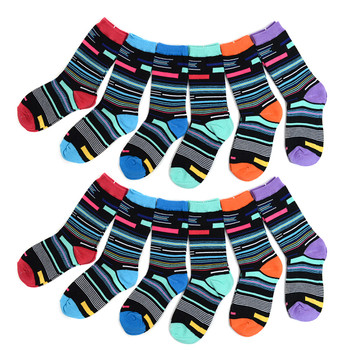 4-Packs (12 Pairs) Women's Mixed Stripes Crew Socks 3PKSWCS-644