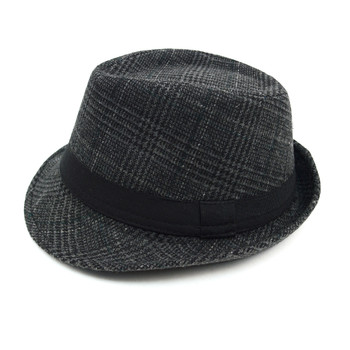 Fall/Winter Plaid Trilby Fedora Hat with Band Trim H171360-BLK