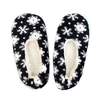 Women's Dark Navy Snowflakes Warm & Cozy Indoor Non Slip Grip Slipper WFWS2716