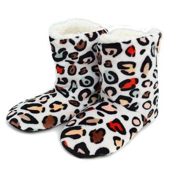 Women's Leopard Warm & Cozy Indoor Non Slip Grip Slipper Bootie WFWB1713
