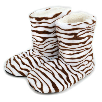 Women's Zebra Warm & Cozy Indoor Non Slip Grip Slipper Bootie WFWB1708