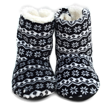 Women's Nordic Pattern Warm & Cozy Indoor Non Slip Grip Slipper Bootie WFWB1714