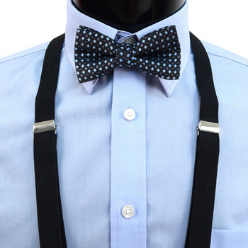 Boy's Black Clip-on Suspender & Dotted Bow Tie Set(8~12 Years)