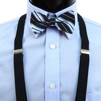Boy's Black Clip-on Suspender & Striped Bow Tie Set(8~12 Years)