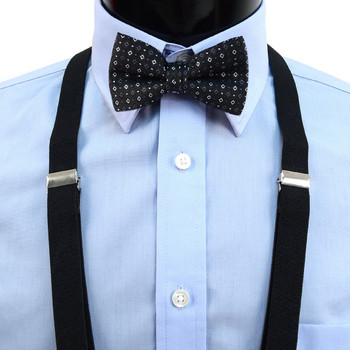 Boy's Black Clip-on Suspender & Dotted Bow Tie Set(8~12 Years) BSBS812BLK3