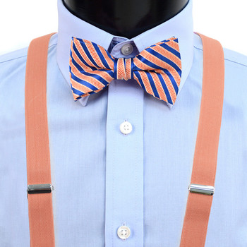Boy's Peach Clip-on Suspender & Striped Bow Tie Set(8~12 Years) BSBS812PEA