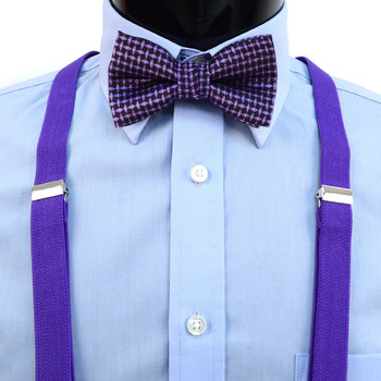 Boy's Purple Clip-on Suspender & Neat Bow Tie Set(8~12 Years)
