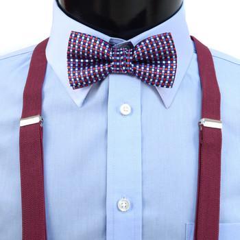 Boy's Burgundy Clip-on Suspender & Neat Bow Tie Set(8~12 Years)
