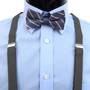 Boy's Charcoal Clip-on Suspender & Striped Bow Tie Set(8~12 Years)
