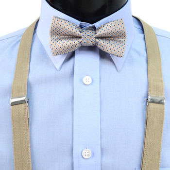 Boy's Khaki Clip-on Suspender & Neat Bow Tie Set(8~12 Years)