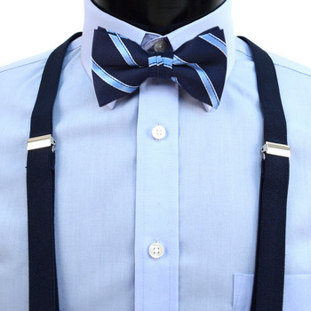 Boy's Navy Clip-on Suspender & Striped Bow Tie Set(8~12 Years)