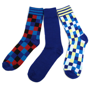 Fancy & Solid Colored 3 Pairs Socks Gift Box-Blue