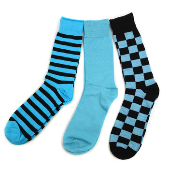 Fancy & Solid Colored 3 Pairs Socks Gift Box-Turqoise