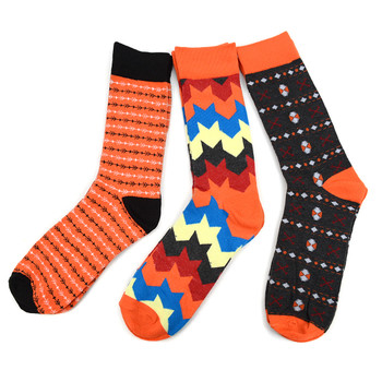 Fancy & Solid Colored 3 Pairs Socks Gift Box-Orange