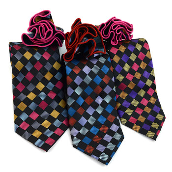 Checkered Pattern Tie & Matching Pocket Round Set MPWTH170637