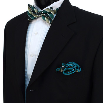 Striped Banded Bow Tie & Matching Hanky Pocket Round Set BTH170628