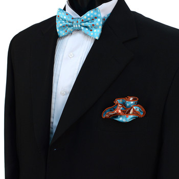 Polka Dot Banded Bow Tie & Matching Hanky Pocket Round Set BTH170632