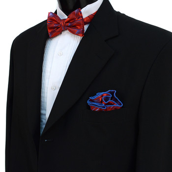 Abstract Pattern Banded Bow Tie & Matching Hanky Pocket Round Set BTH170635