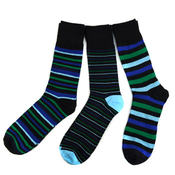 Assorted Pack (3 Pairs) Men's Blue Striped Casual Fancy Socks 3PKS/BL3