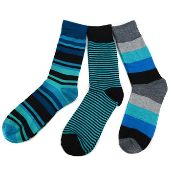 Assorted Pack (3 Pairs) Men's Green Striped Casual Fancy Socks 3PKS/GR2