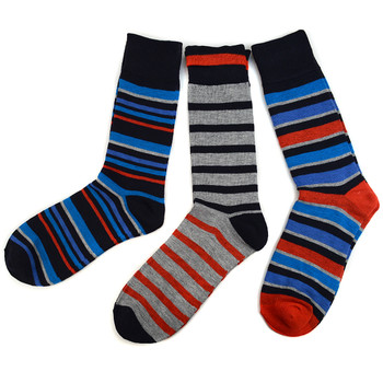 Assorted Pack (3 Pairs) Men's Red Striped Casual Fancy Socks 3PKS/RD2