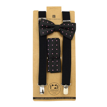 3pc Men's Black Clip-on Suspenders, Dotted Bow Tie & Hanky Sets FYBTHSU-BK4
