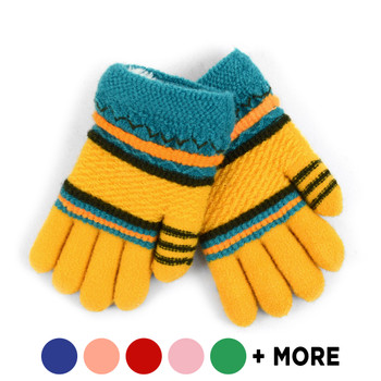 Children's Knit Winter Gloves with Fuzzy Fleece Lining - 250KFG
