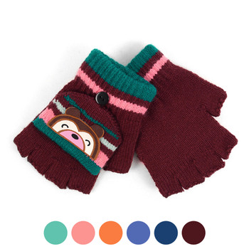 Children's Knit Convertible Winter Mitten Gloves with Cute Bear Patch - 580KFG