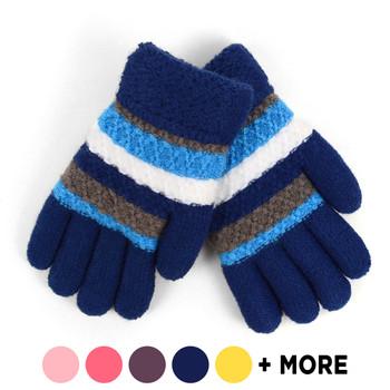 6pc Children's Knit Winter Gloves with Fuzzy Fleece Lining - 812JFG
