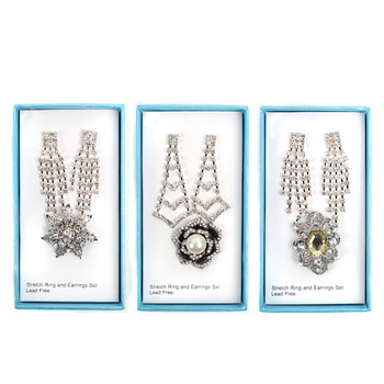 12pc Prepack Assorted Stretch Ring & Earrings Sets RES12ASST