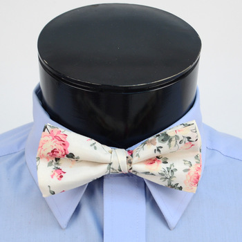 3pc Floral Wedding Cotton Banded Bow Tie - NFCB17131