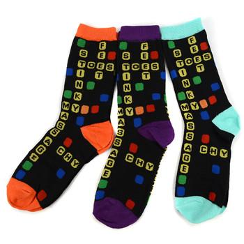 4-Packs (12 Pairs) Women's Scrabbl Novelty Socks 3PKSWCS-538