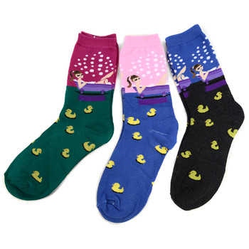 4-Packs (3 pairs/pack) Women's Rubber Ducky Novelty Socks 3PKSWCS-697