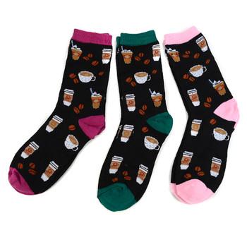 4-Packs (12 Pairs) Women's Coffee Cups Novelty Socks 3PKSWCS-6112