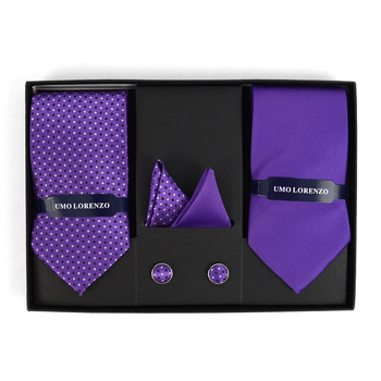 3pc Dotted & Solid Tie with Matching Hanky and Cufflinks THCX12-PUR3