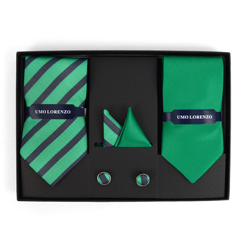 3pc Striped & Solid Tie with Matching Hanky and Cufflinks THCX12-GRN1
