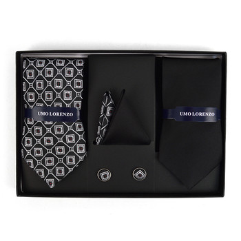 Geometric & Solid Tie with Matching Hanky and Cufflinks THCX12-BLK5