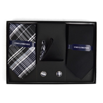 Plaid & Solid Tie with Matching Hanky and Cufflinks THCX12-BLK4
