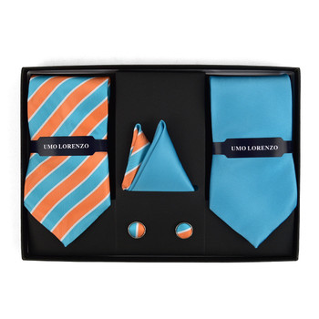Striped & Solid Tie with Matching Hanky and Cufflinks THCX12-TURQ2