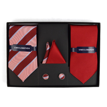 3pc Striped & Solid Tie with Matching Hanky and Cufflinks THCX12-BURG1