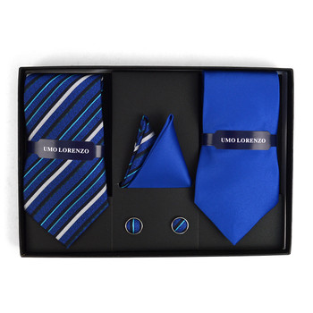 Striped & Solid Tie with Matching Hanky and Cufflinks THCX12-RBL2