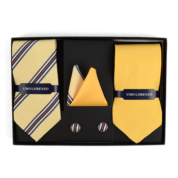 Striped & Solid Tie with Matching Hanky and Cufflinks THCX12-YW2